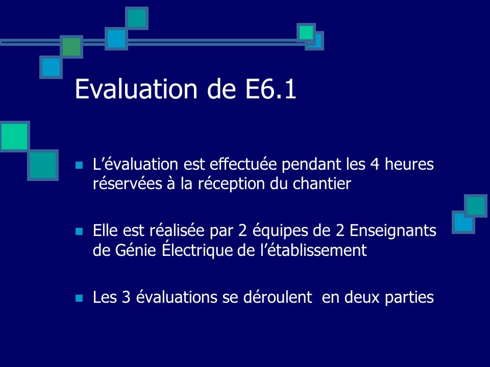Evaluation de E6.1 L'évaluation est effectuée pendant les 4 heures réservées à la réception du chantier.