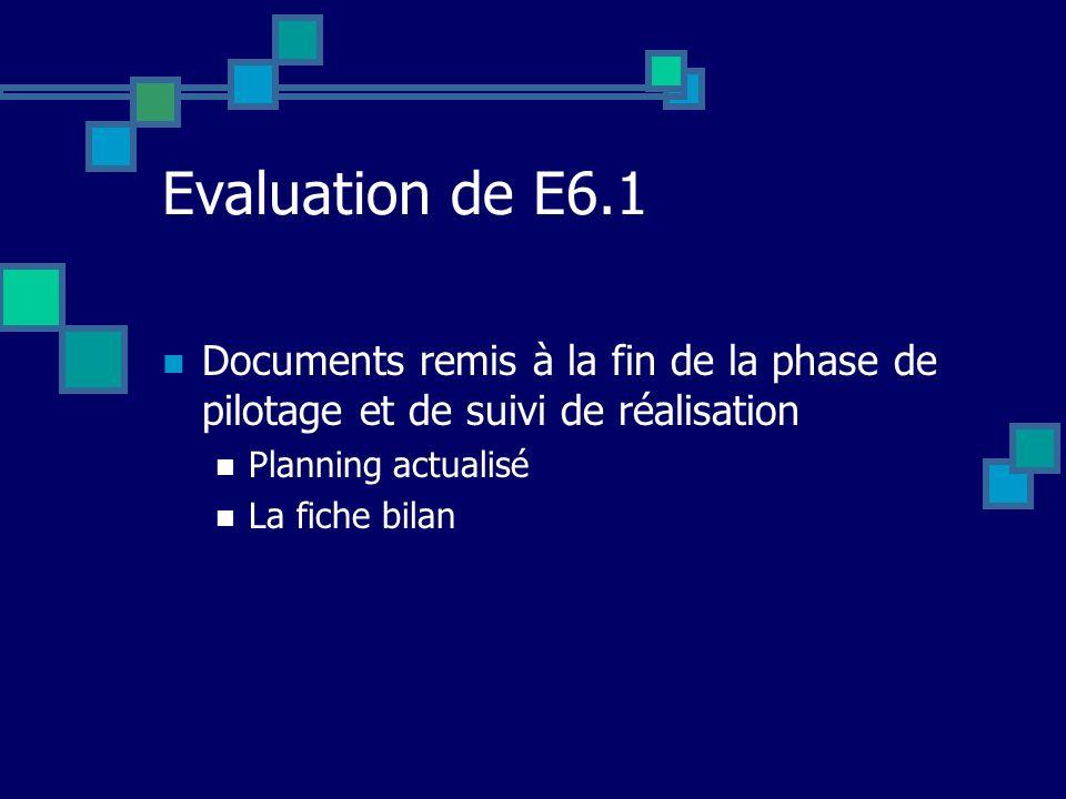 Evaluation de E6.1 Documents remis à la fin de la phase de pilotage et de suivi de réalisation. Planning actualisé.