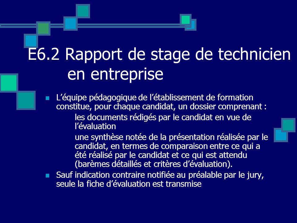 E6.2 Rapport de stage de technicien en entreprise