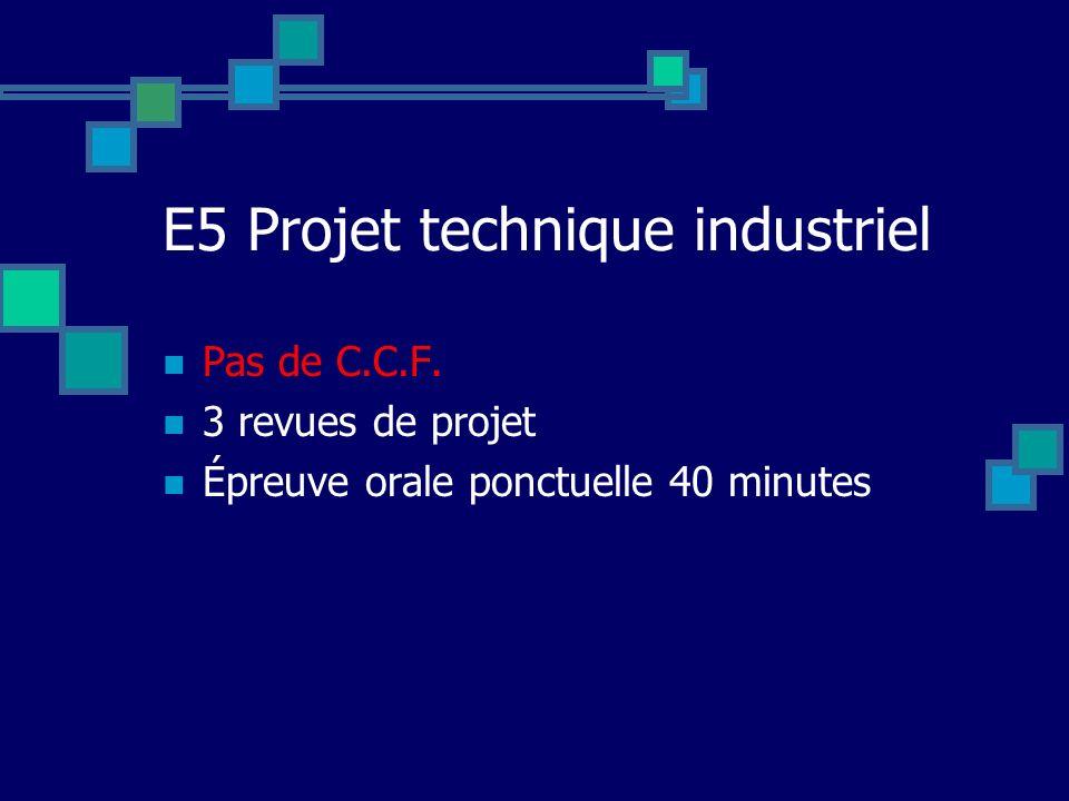 E5 Projet technique industriel
