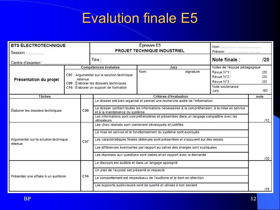 Evalution finale E5 BP