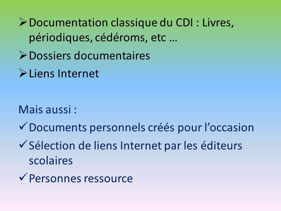 Documentation classique du CDI : Livres, périodiques, cédéroms, etc …