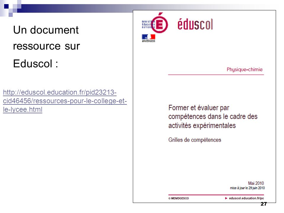Un document ressource sur Eduscol :