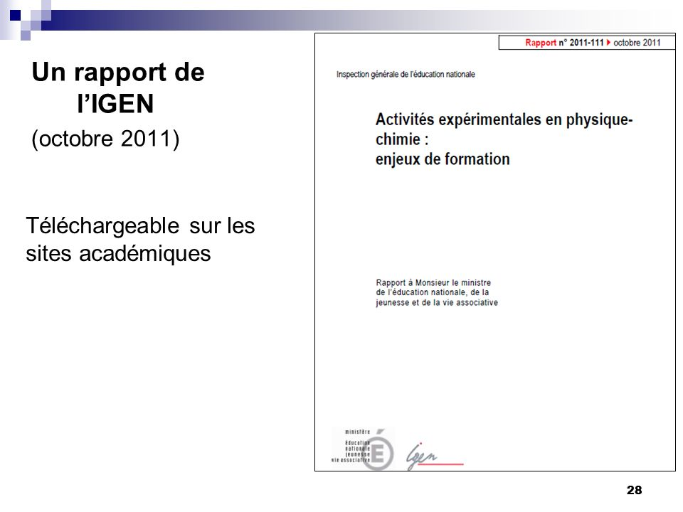 Un rapport de l'IGEN (octobre 2011)