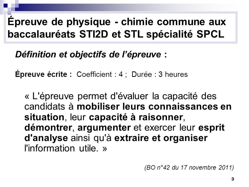Épreuve de physique - chimie commune aux baccalauréats STI2D et STL spécialité SPCL