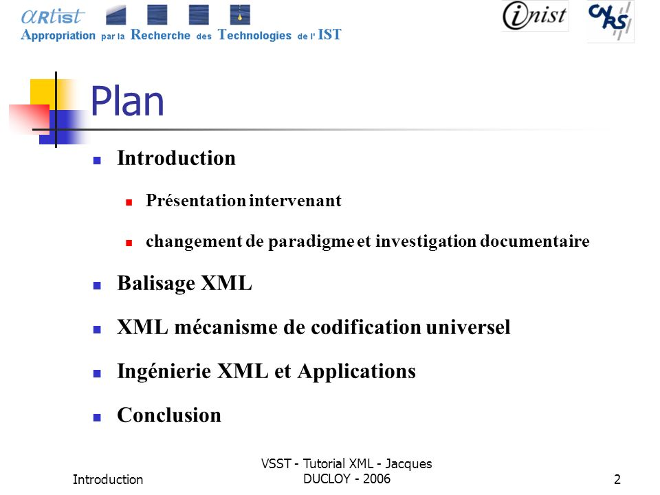 VSST - Tutorial XML - Jacques DUCLOY - 2006