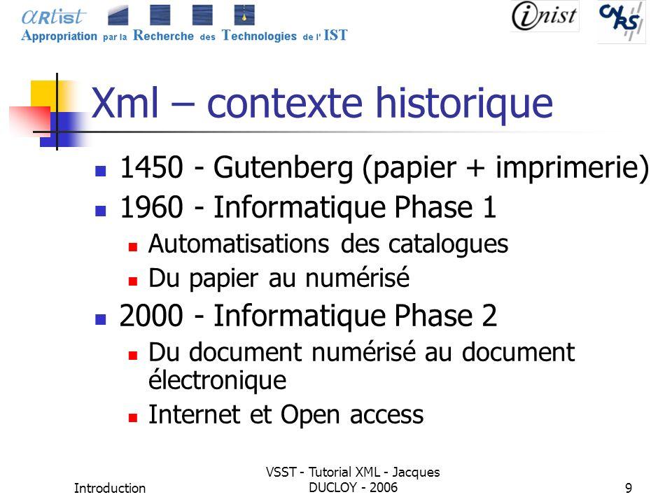 Xml – contexte historique