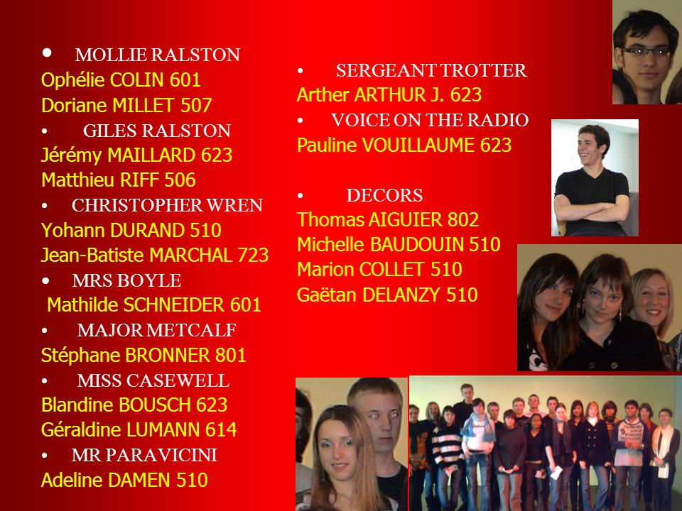 MOLLIE RALSTON Ophélie COLIN 601 SERGEANT TROTTER Doriane MILLET 507