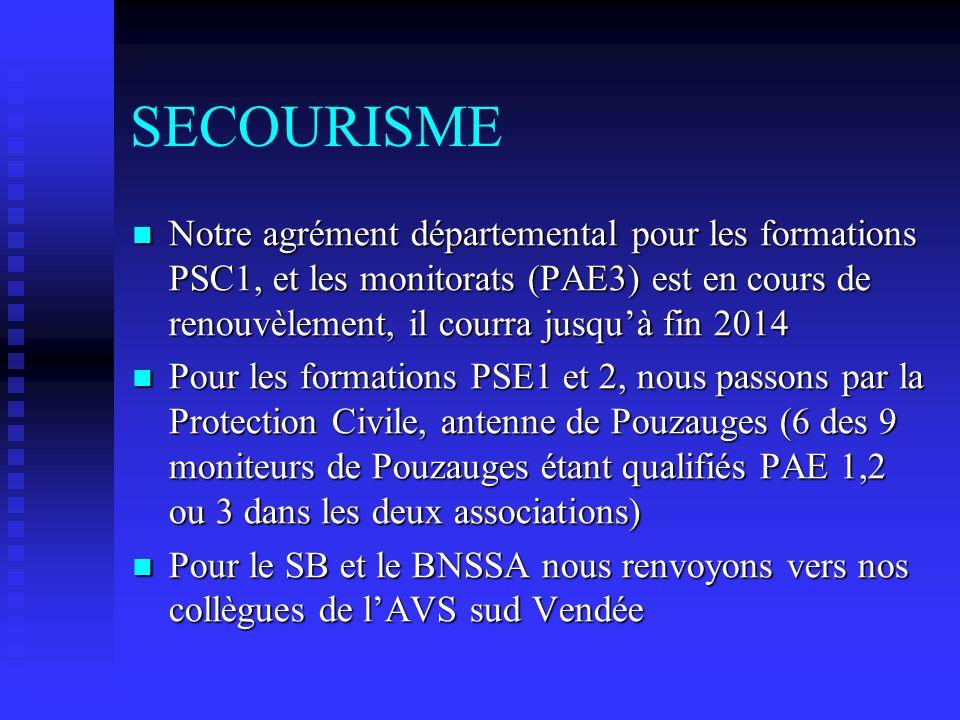 SECOURISME Notre agrément départemental pour les formations PSC1, et les monitorats (PAE3) est en cours de renouvèlement, il courra jusqu'à fin 2014.