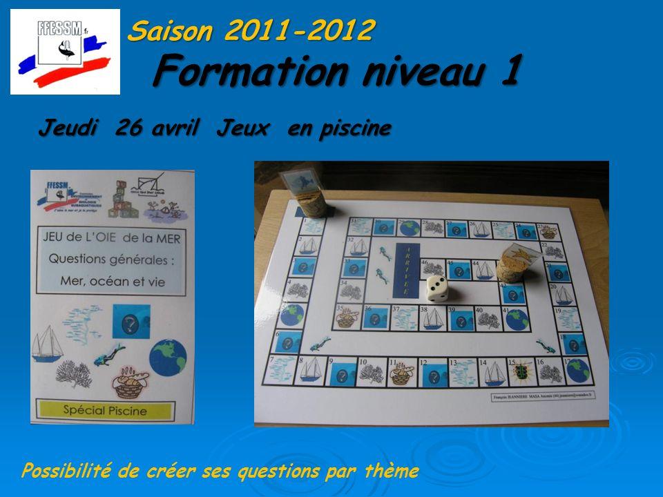 Formation niveau 1 Saison 2011-2012 Jeudi 26 avril Jeux en piscine