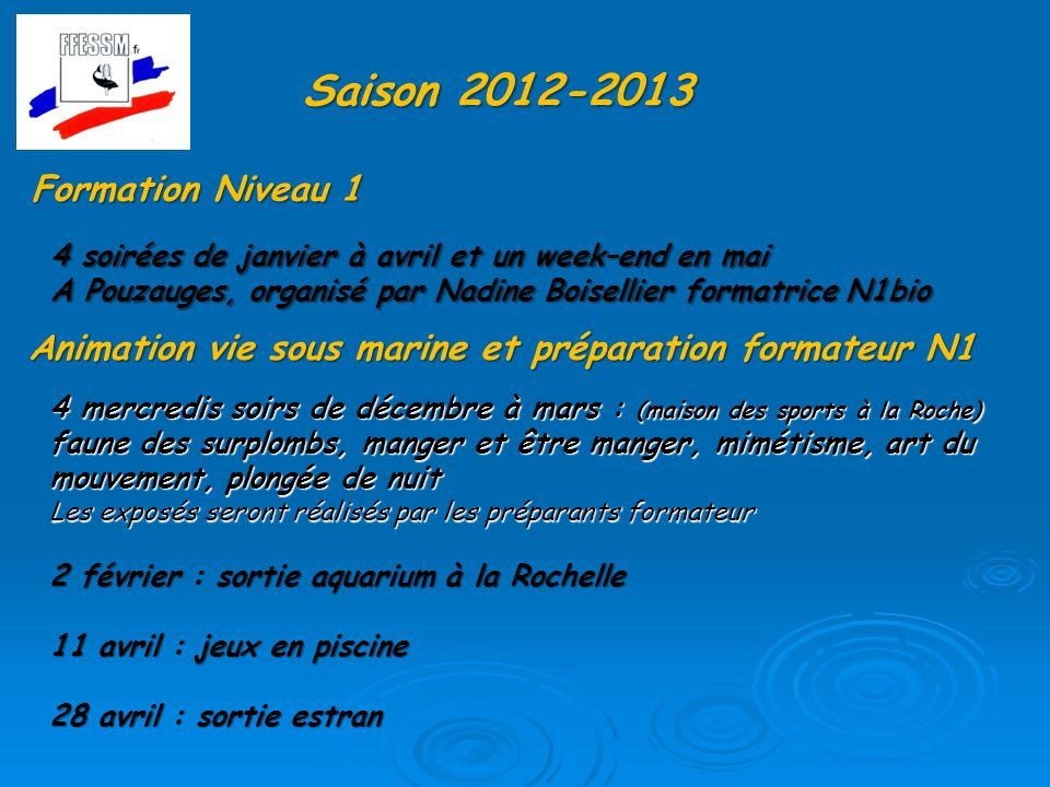Saison 2012-2013 Formation Niveau 1