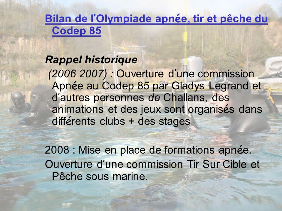 Bilan de l'Olympiade apnée, tir et pêche du Codep 85