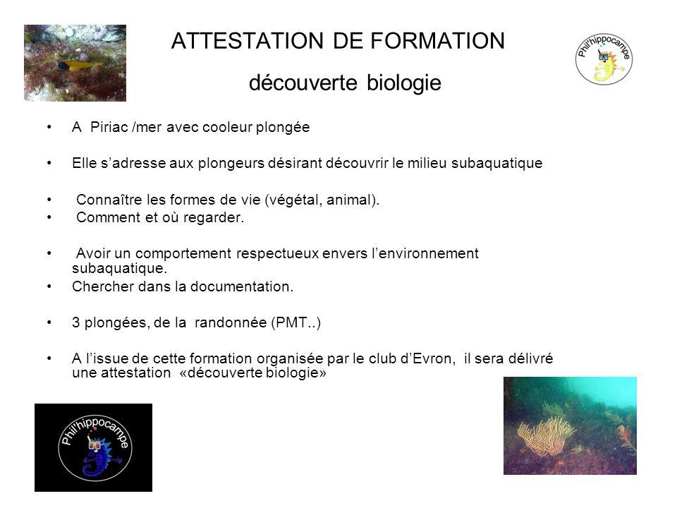 ATTESTATION DE FORMATION découverte biologie