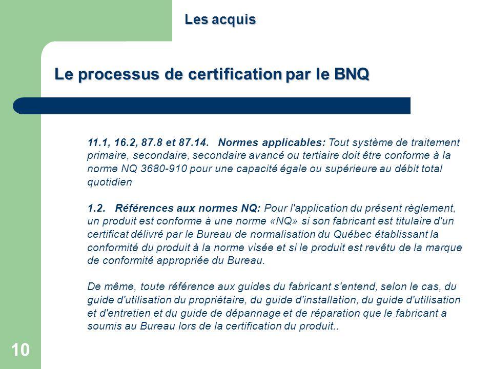 Le processus de certification par le BNQ