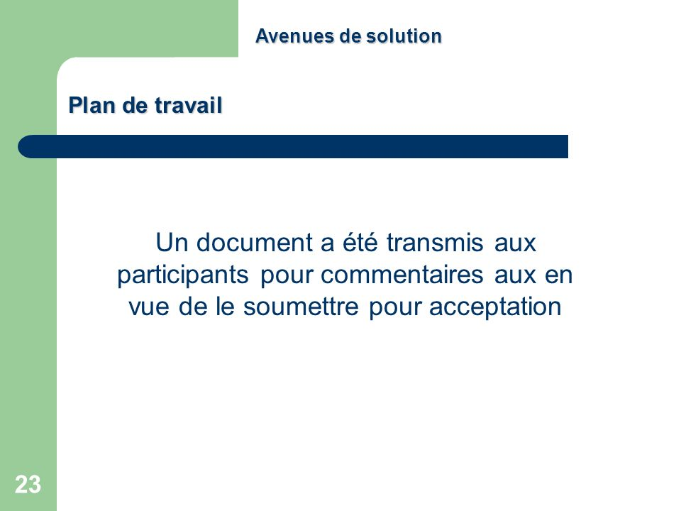 Avenues de solution Plan de travail.