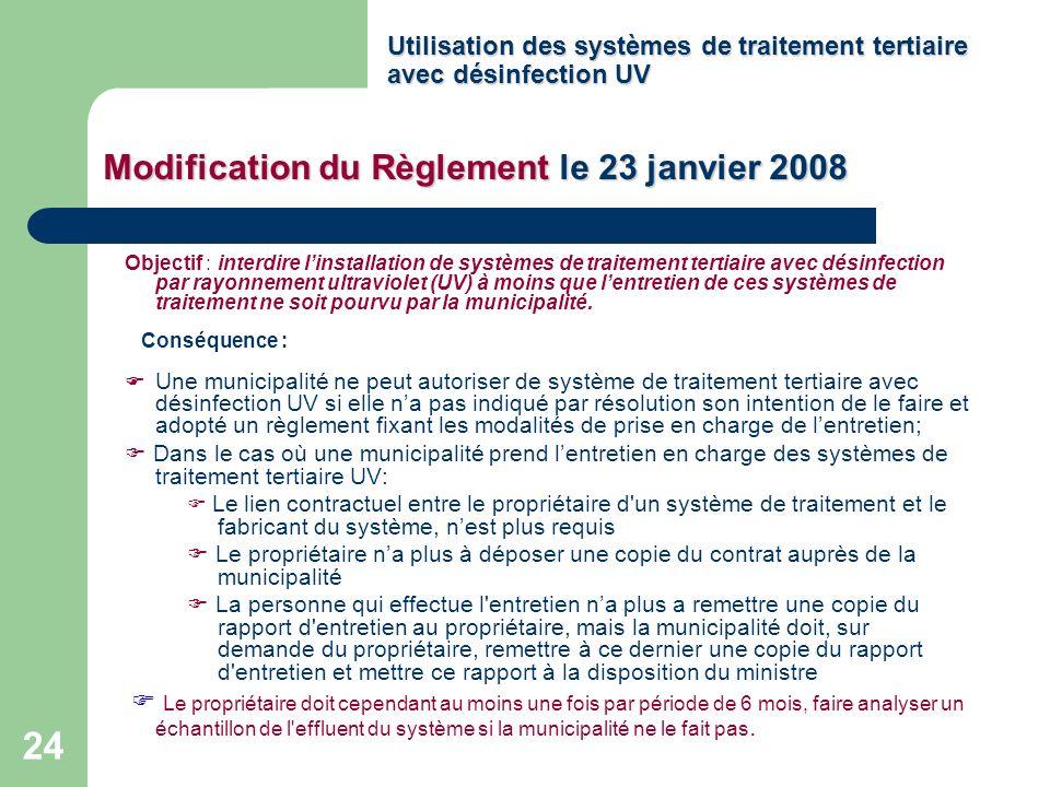 Utilisation des systèmes de traitement tertiaire avec désinfection UV