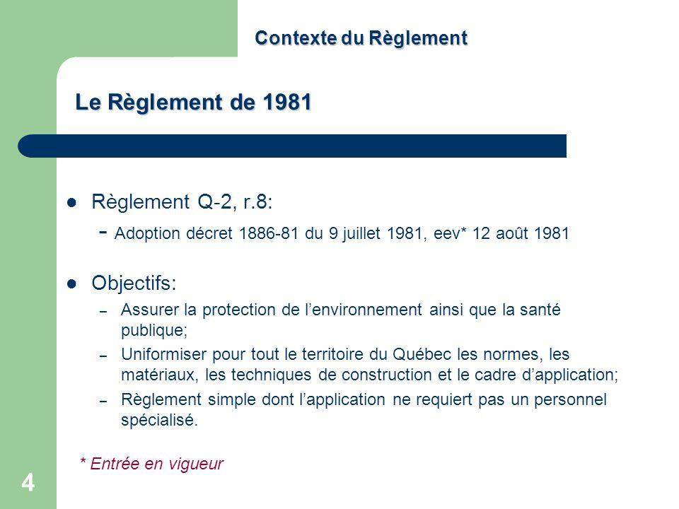 Contexte du Règlement Le Règlement de 1981. Règlement Q‑2, r.8: - Adoption décret 1886-81 du 9 juillet 1981, eev* 12 août 1981.