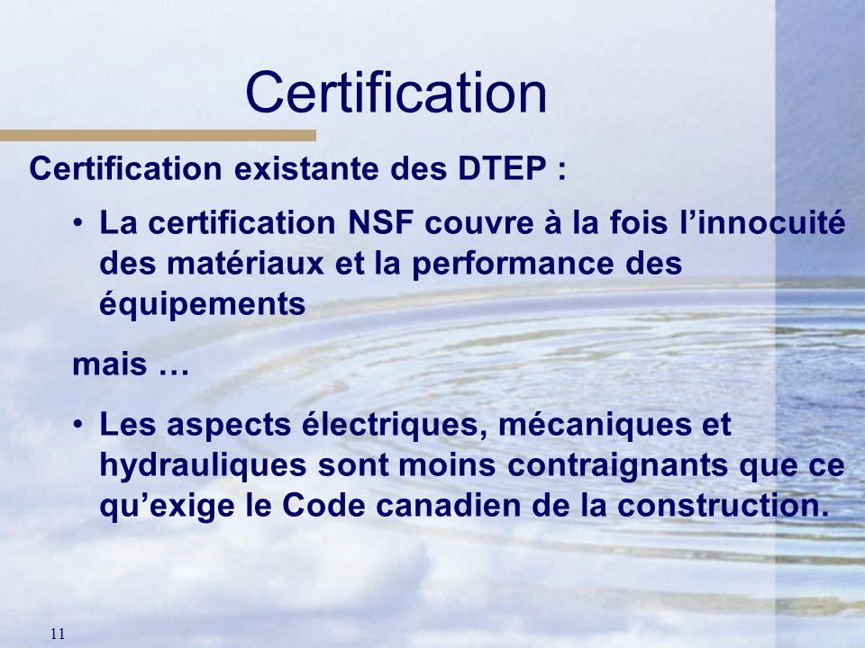 Certification Certification existante des DTEP :