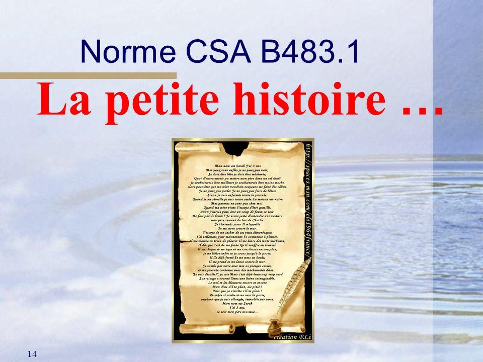 Norme CSA B483.1 La petite histoire …