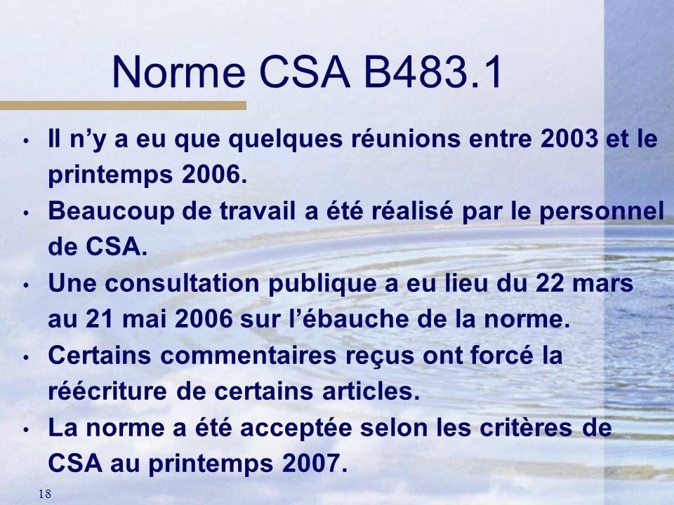Norme CSA B483.1 Il n'y a eu que quelques réunions entre 2003 et le printemps 2006. Beaucoup de travail a été réalisé par le personnel de CSA.