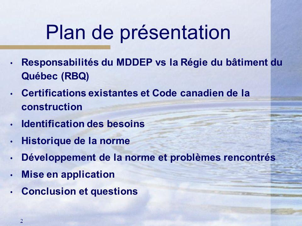 Plan de présentation Responsabilités du MDDEP vs la Régie du bâtiment du Québec (RBQ) Certifications existantes et Code canadien de la construction.