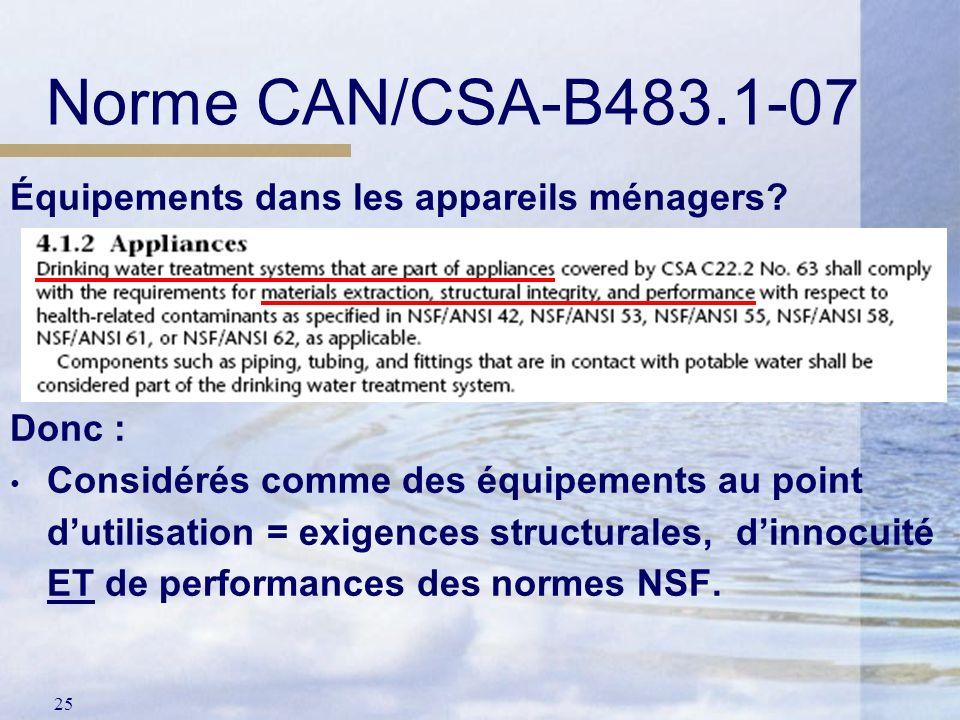 Norme CAN/CSA-B483.1-07 Équipements dans les appareils ménagers