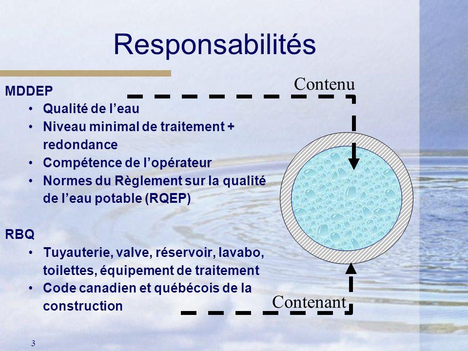 Responsabilités Contenu Contenant MDDEP Qualité de l'eau