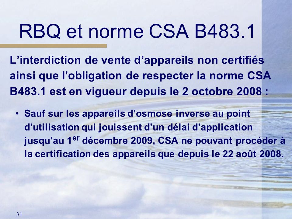 RBQ et norme CSA B483.1