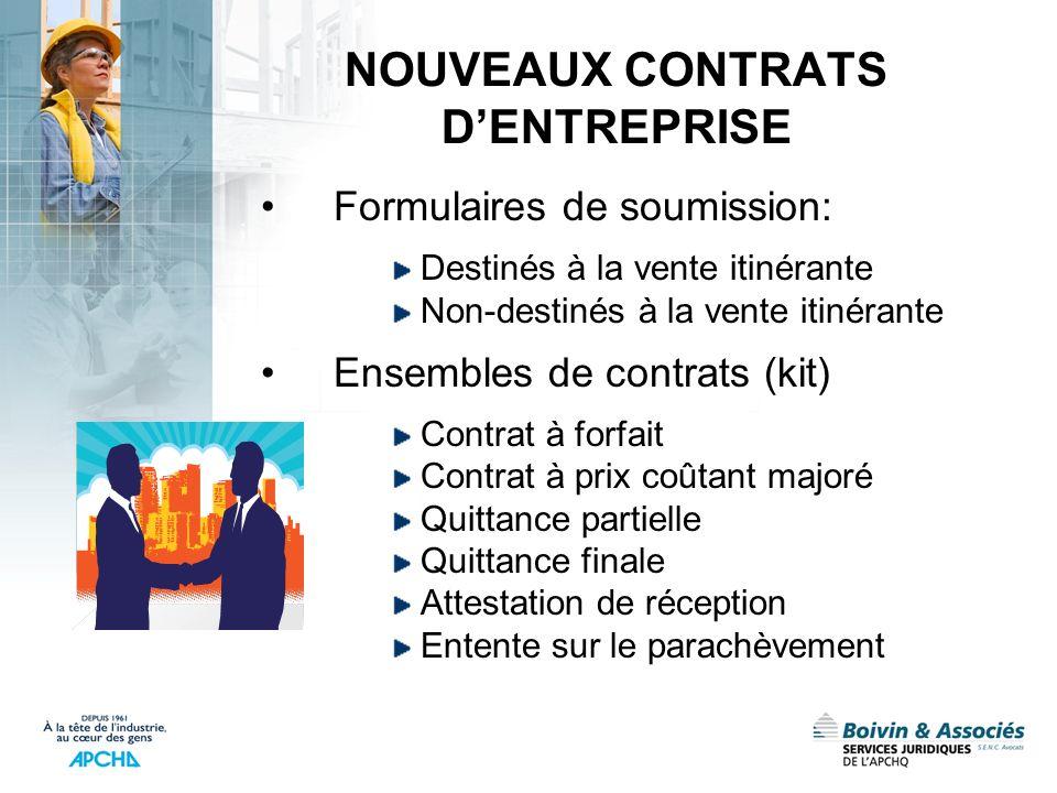 NOUVEAUX CONTRATS D'ENTREPRISE