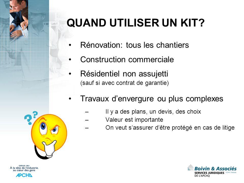 QUAND UTILISER UN KIT Rénovation: tous les chantiers