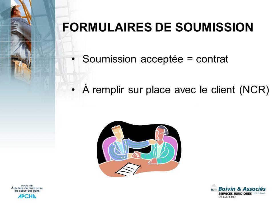 FORMULAIRES DE SOUMISSION