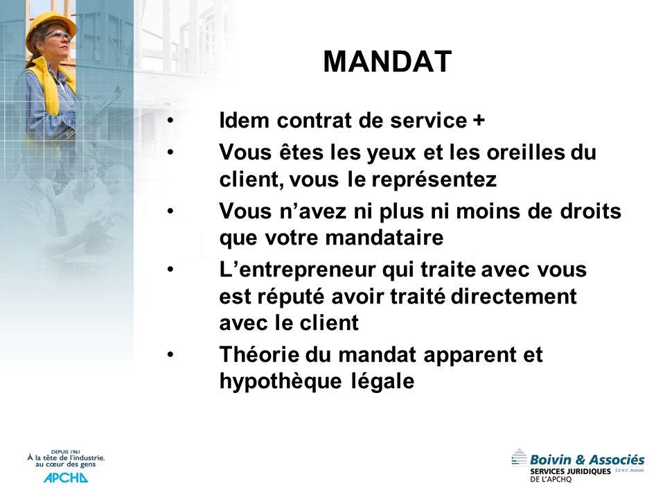 MANDAT Idem contrat de service +