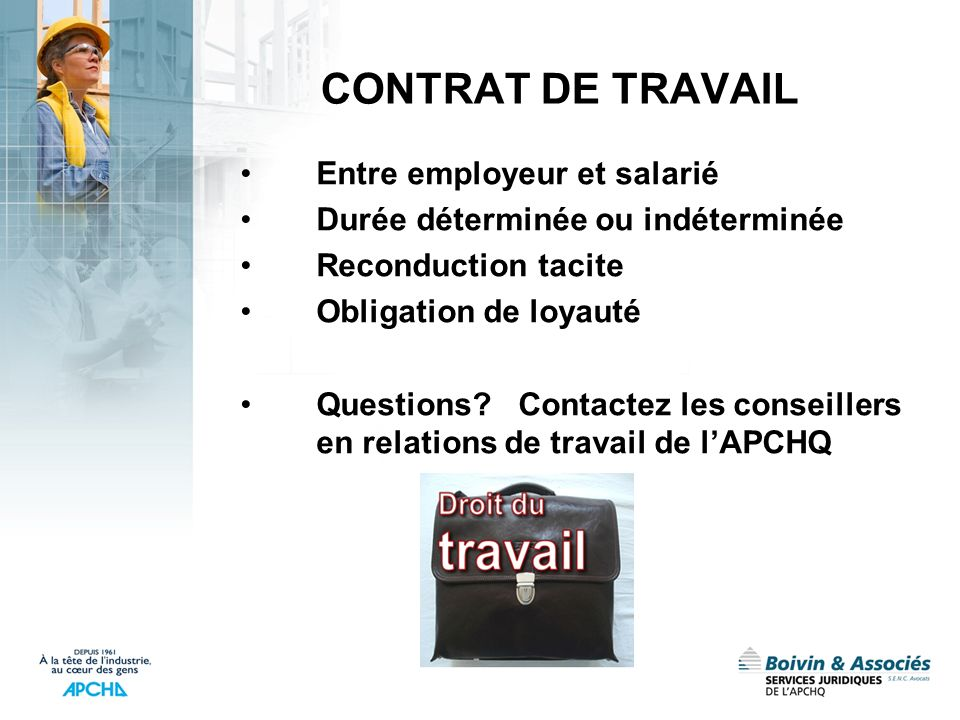 CONTRAT DE TRAVAIL Entre employeur et salarié