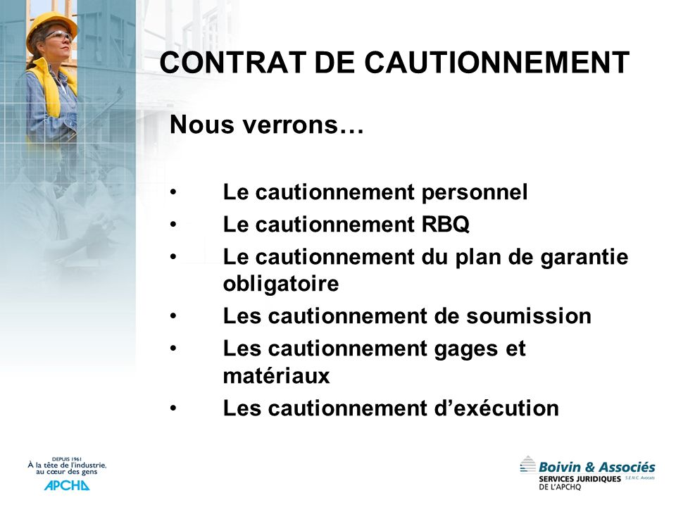 CONTRAT DE CAUTIONNEMENT
