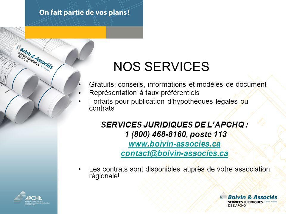 SERVICES JURIDIQUES DE L'APCHQ :