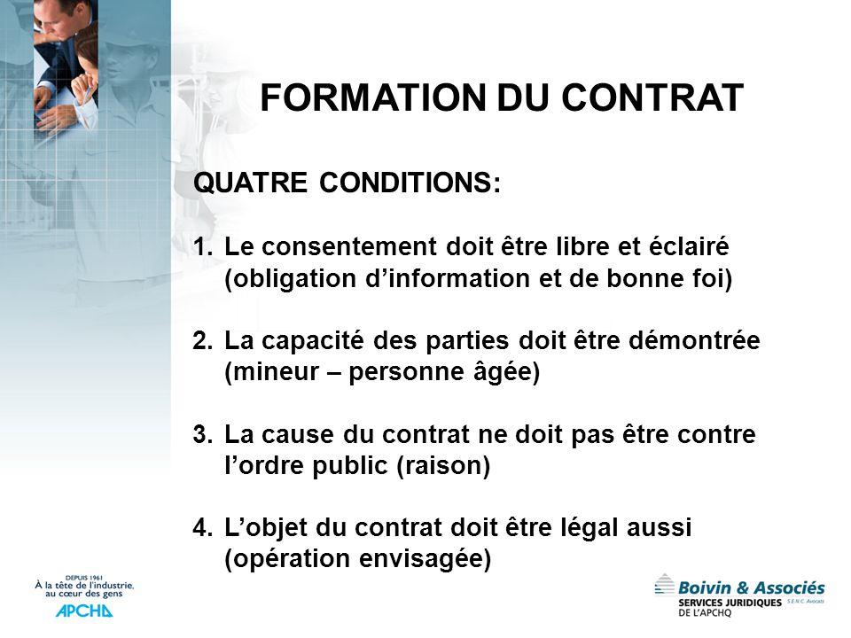 FORMATION DU CONTRAT QUATRE CONDITIONS: