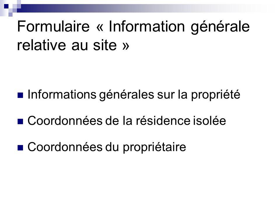 Formulaire « Information générale relative au site »