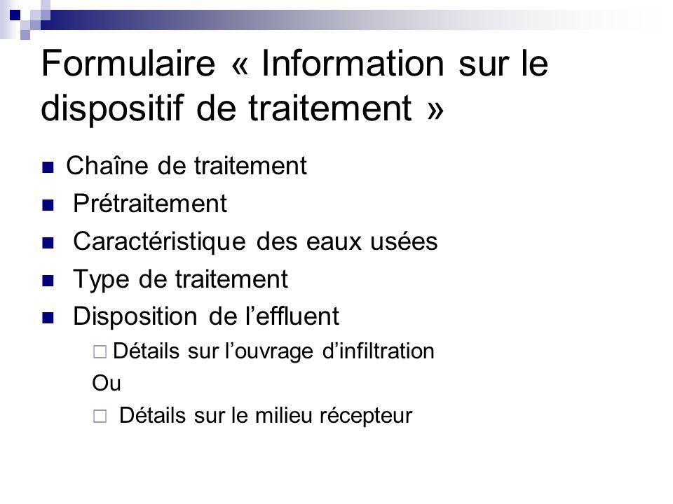 Formulaire « Information sur le dispositif de traitement »
