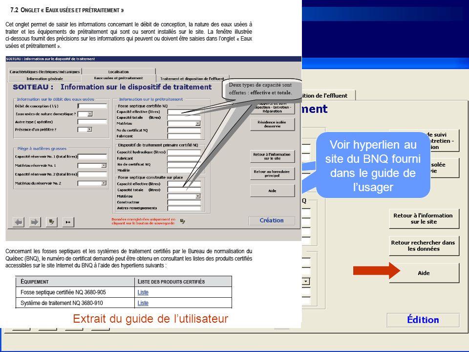 Voir hyperlien au site du BNQ fourni dans le guide de l'usager