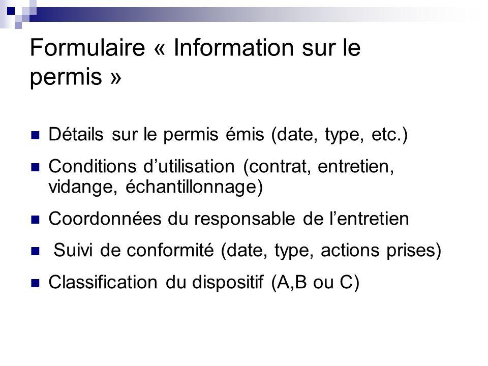 Formulaire « Information sur le permis »
