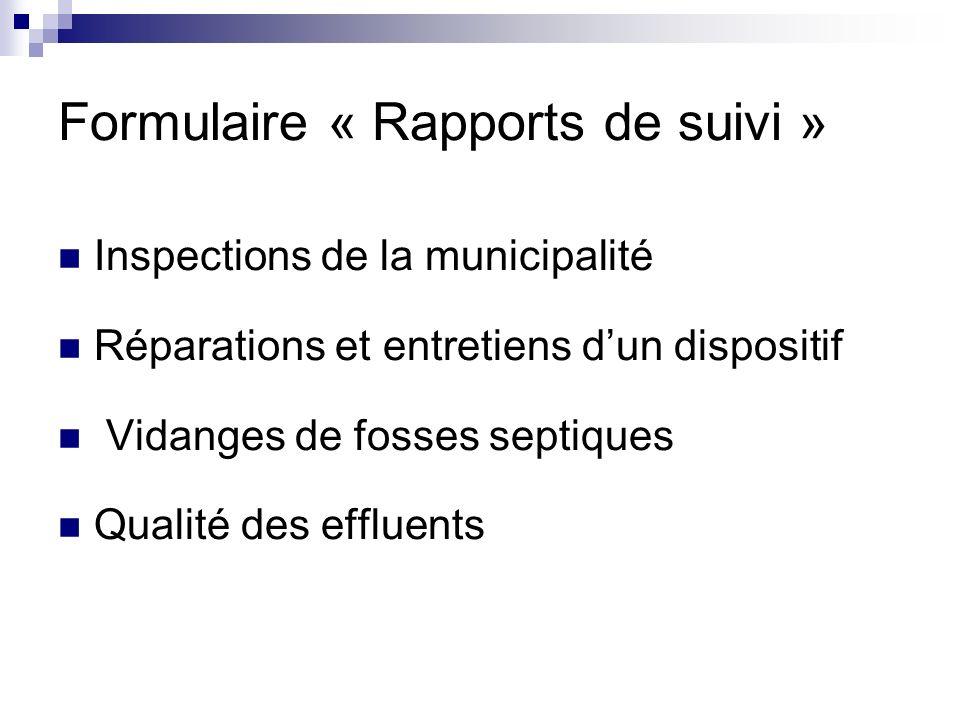 Formulaire « Rapports de suivi »