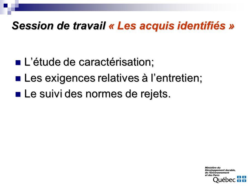 Session de travail « Les acquis identifiés »