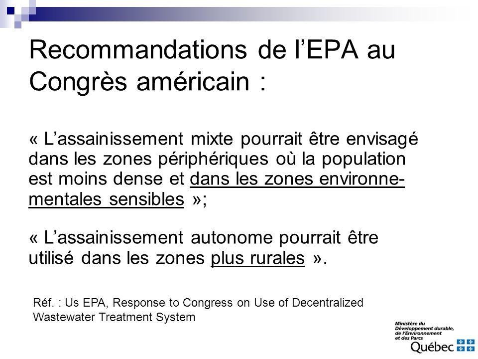 Recommandations de l'EPA au Congrès américain :