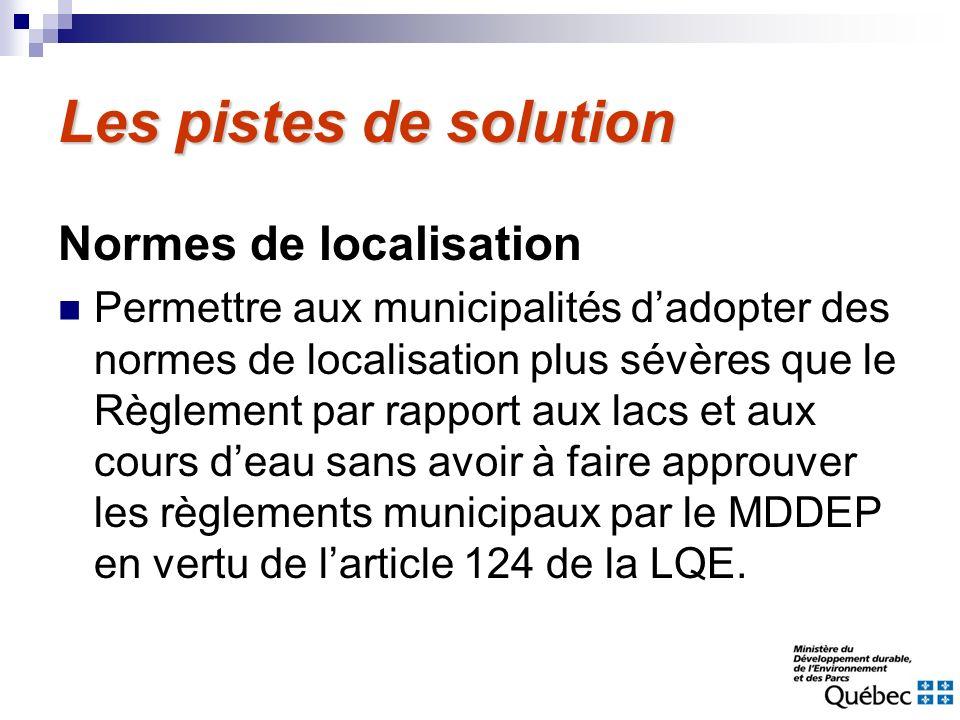 Les pistes de solution Normes de localisation