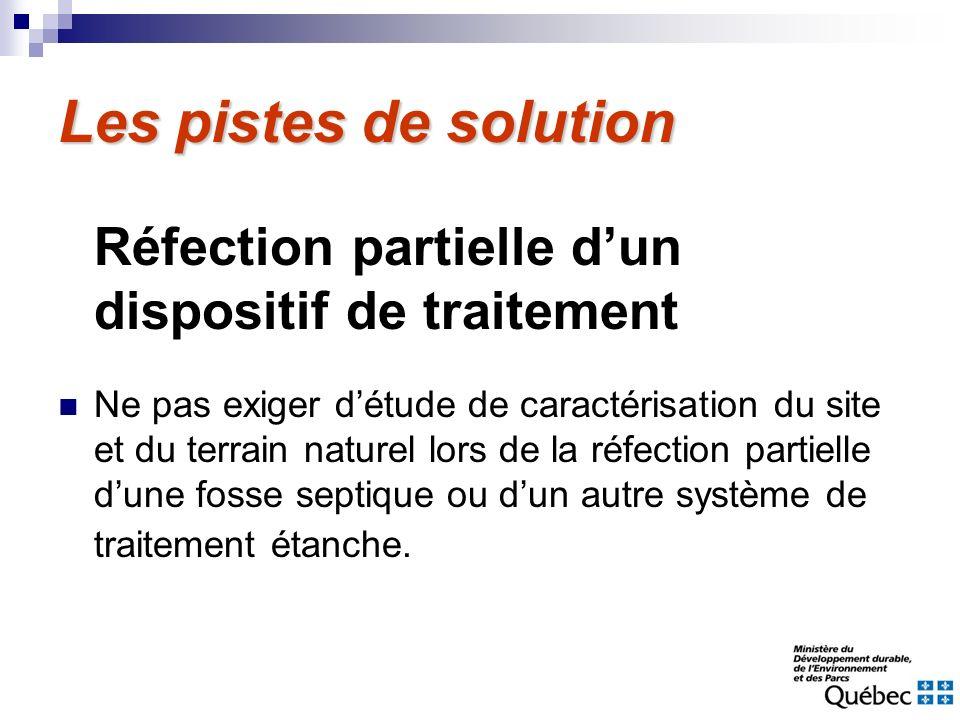 Les pistes de solutionRéfection partielle d'un dispositif de traitement.