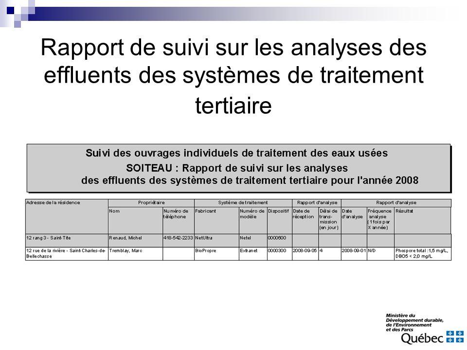 Rapport de suivi sur les analyses des effluents des systèmes de traitement tertiaire