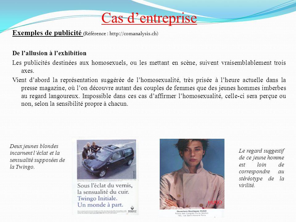 Cas d'entreprise Exemples de publicité (Référence : http://comanalysis.ch) De l'allusion à l'exhibition.