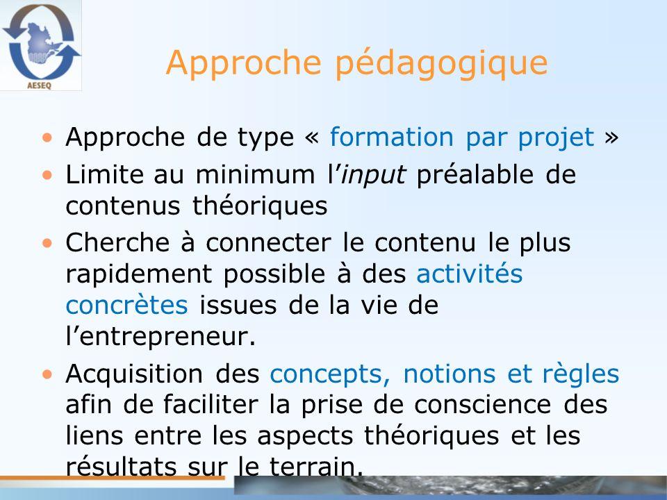 Approche pédagogique Approche de type « formation par projet »