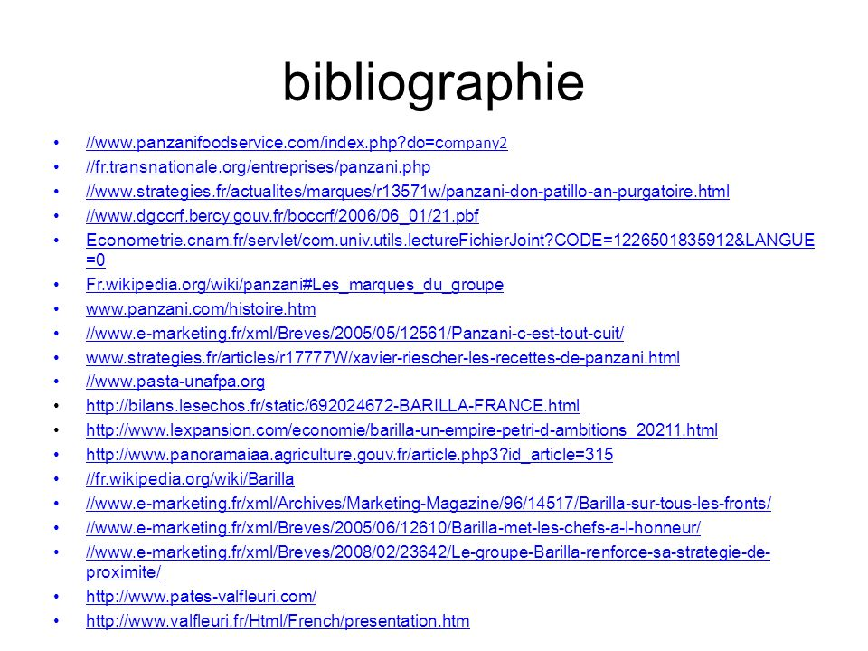 bibliographie //www.panzanifoodservice.com/index.php do=company2