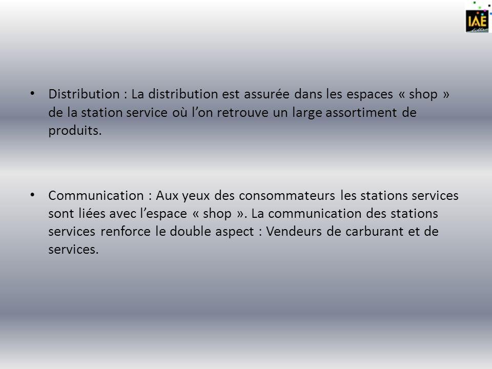 Distribution : La distribution est assurée dans les espaces « shop » de la station service où l'on retrouve un large assortiment de produits.